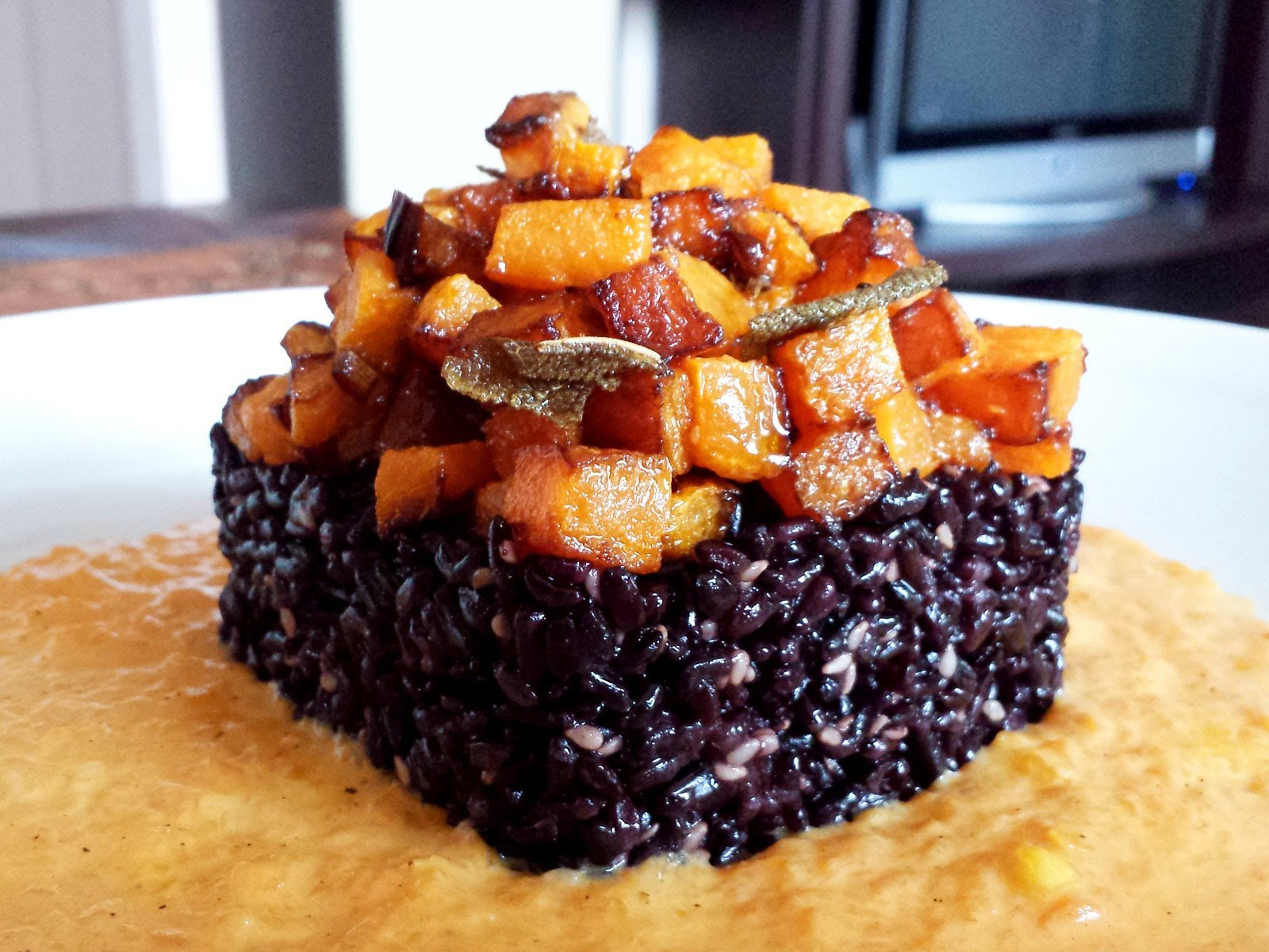 Tortini di riso venere e zucca